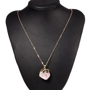 Jewelry - Raw Rose Quartz Gold-Tone Chain Necklace